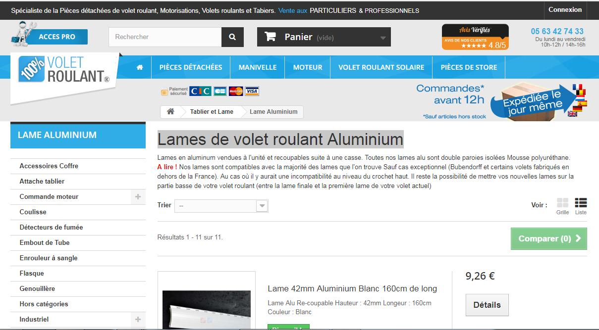 Lames de volet roulant Aluminium