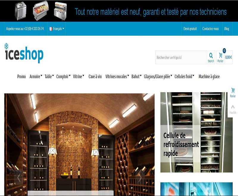 Ice-Shop, vente de matériel frigorifique en ligne
