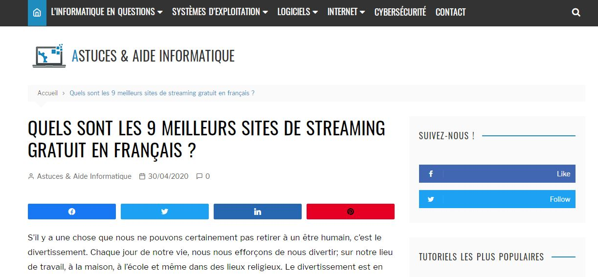 Obtenez la liste des sites de streaming gratuit