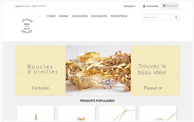 Site de vente en ligne de bijoux plaqués or